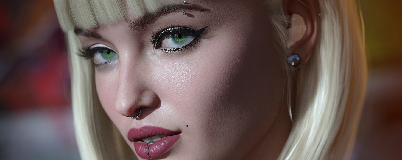 a close up of Victoria, a 3D model with blonde hair and piercings