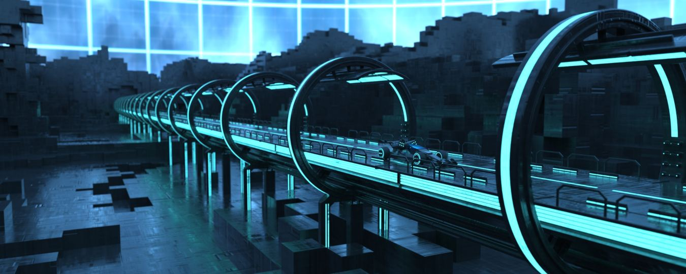 a 3D model of a futuristic city and road with a vehicle traveling down it