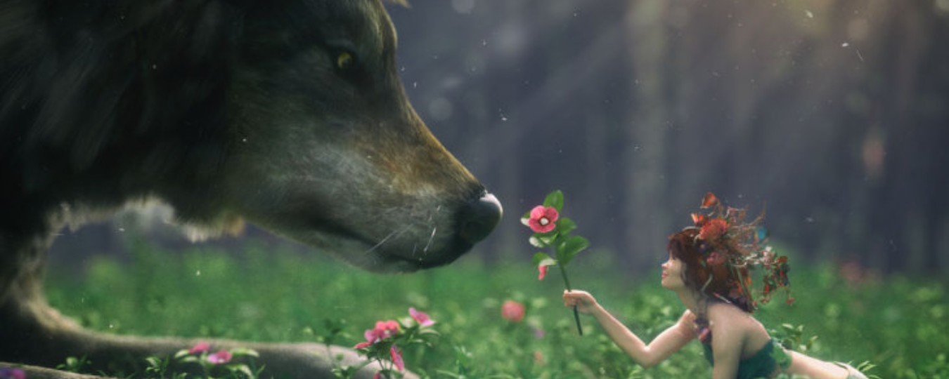 a render of a fairy offering a flower to a wolf