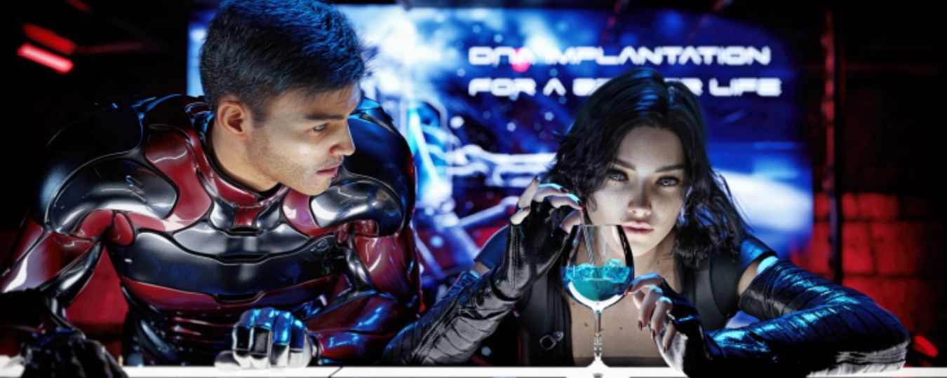 a man and woman sit together in a futuristic setting