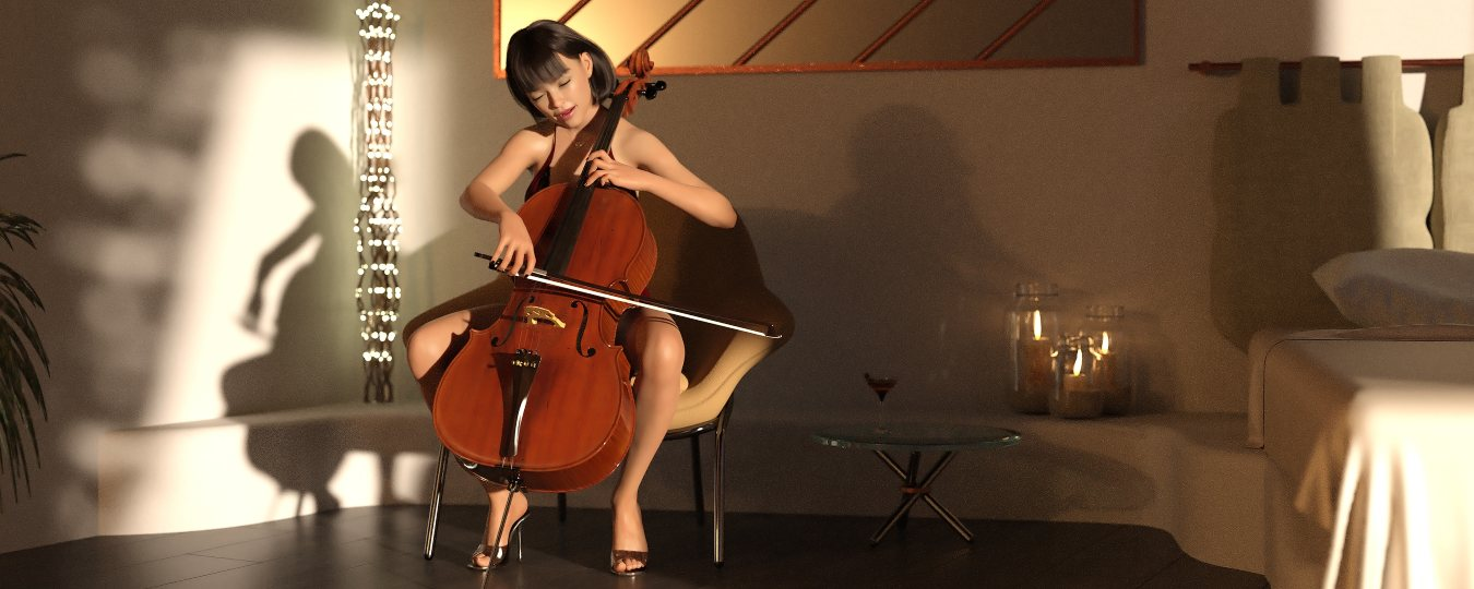 a render of a woman playing the cello in a room alone