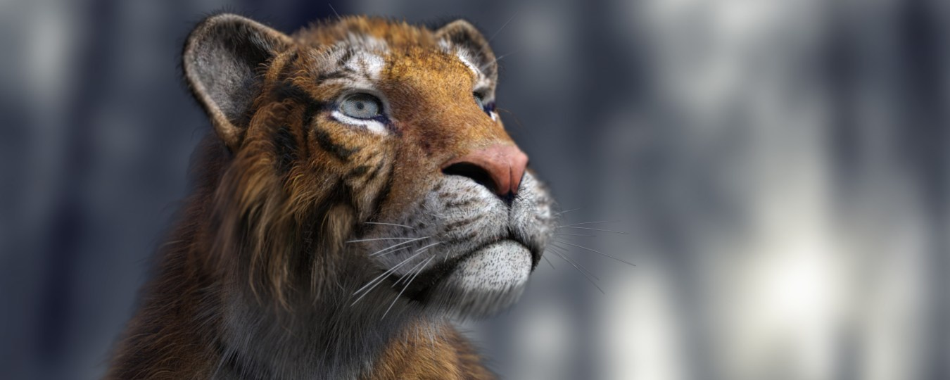 a render of a tiger looking off into the distance