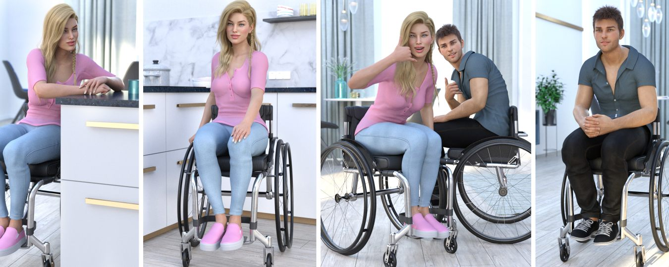 a collage of characters and poses for wheelchair users