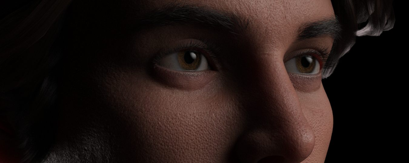 a close up of Michael 8.1 and his skin created with Texturing XYZ resources