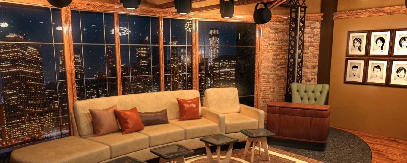 the FG Talk Show Set and Dressing Room that Jay uses to create his scene