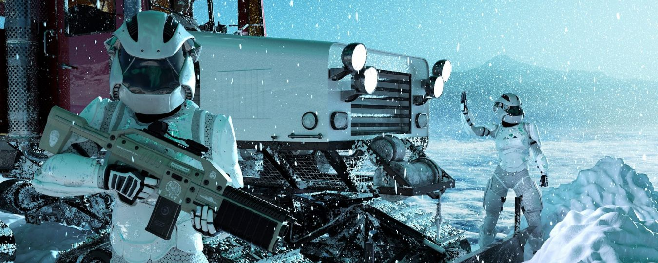 a render of two people in white suits and a large vehicle in the snow