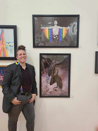 Breanna at her gallery showing