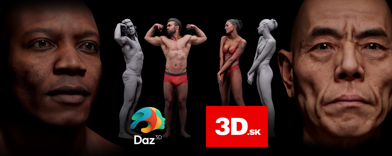 both male and female characters on a black background with the Daz 3D and 3D.sk logos