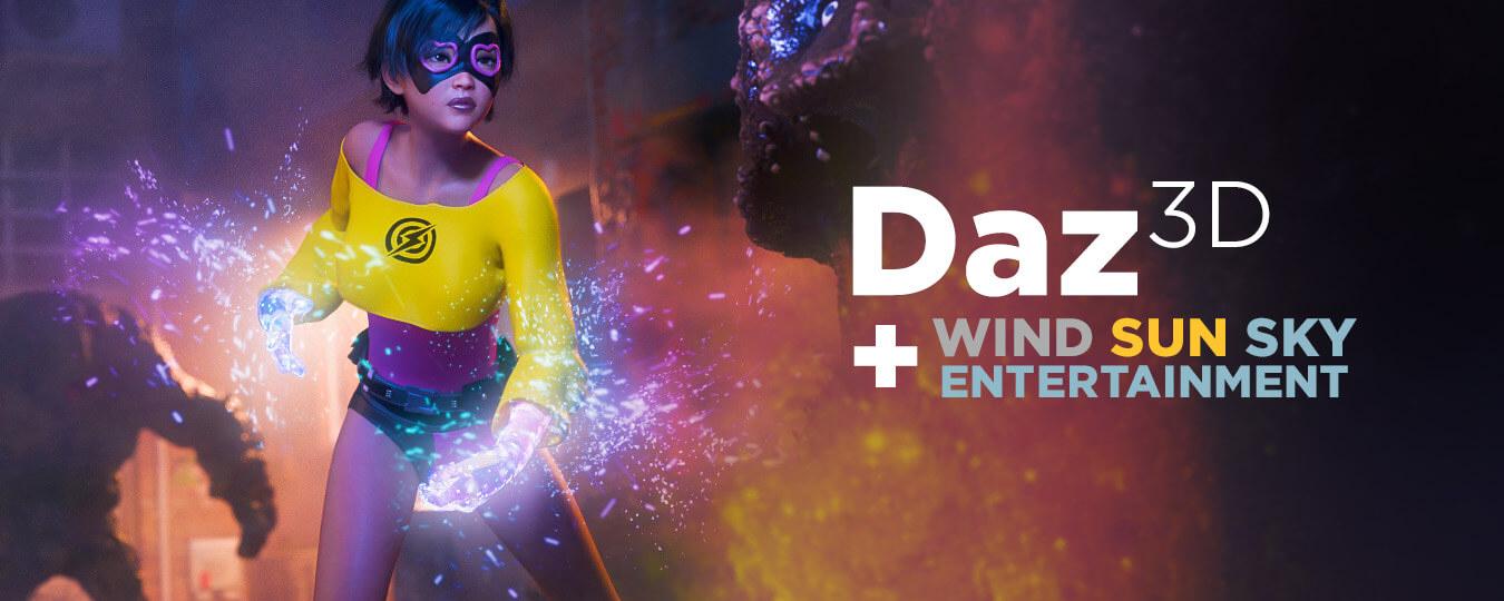 Daz 3D + Wind Sun Sky Logo Art
